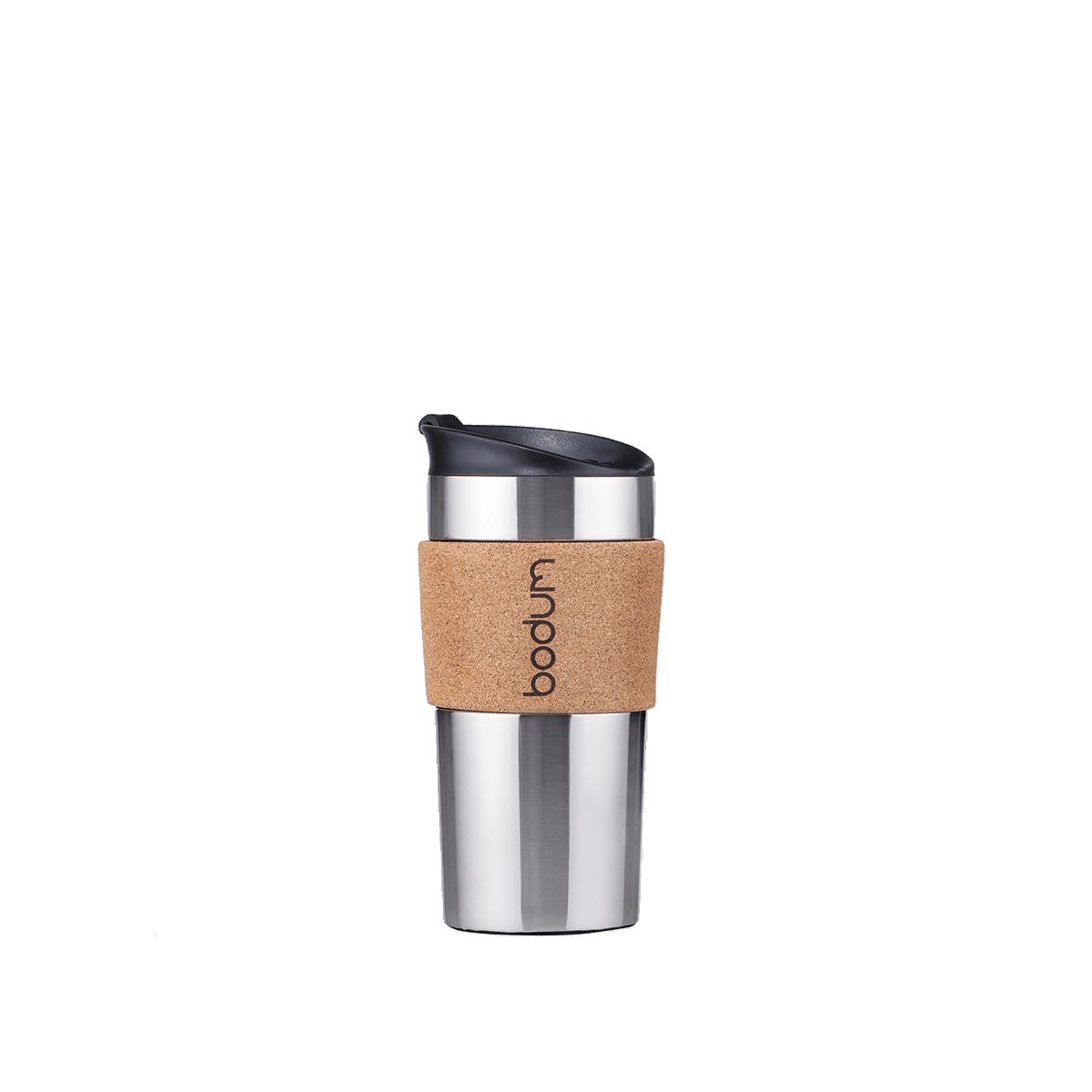 Double-walled insulated travel mug: Bodum® Travel Mug - Cork